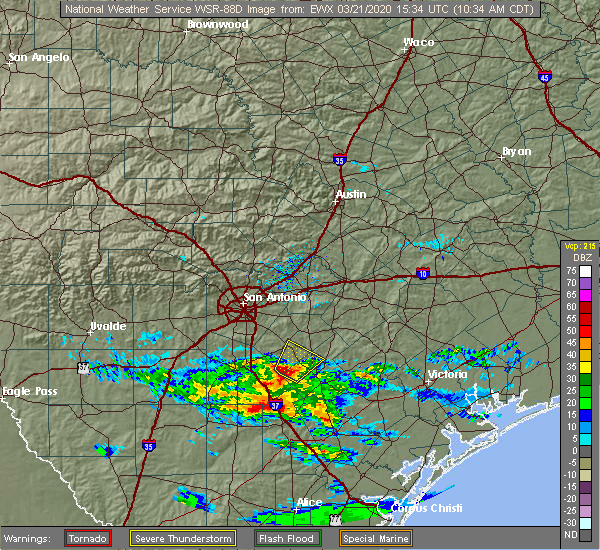 Radar Image for Severe Thunderstorms near Floresville, TX at 3/21/2020 10:36 AM CDT