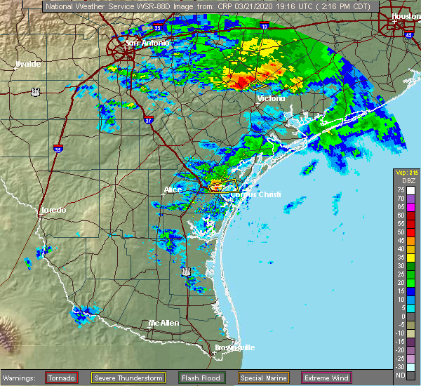 Radar Image for Severe Thunderstorms near Portland, TX at 3/21/2020 2:24 PM CDT