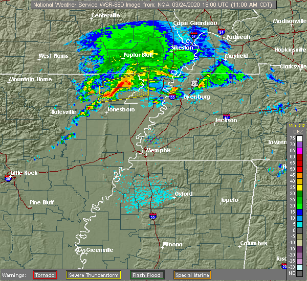 Radar Image for Severe Thunderstorms near Delaplaine, AR at 3/24/2020 11:02 AM CDT