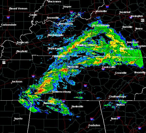 Radar Image for Severe Thunderstorms near Lawrenceburg, TN at 3/24/2020 5:00 PM CDT