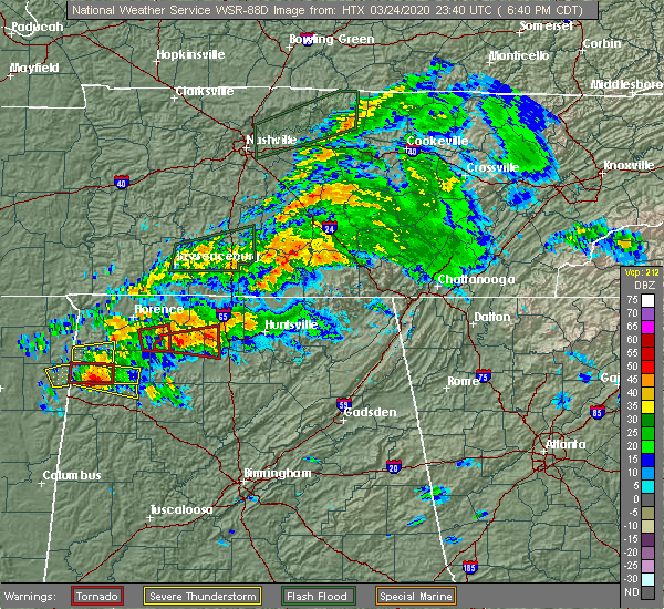 Radar Image for Severe Thunderstorms near Athens, AL at 3/24/2020 6:46 PM CDT