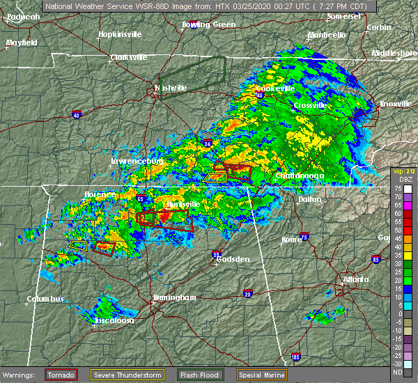 Radar Image for Severe Thunderstorms near New Hope, AL at 3/24/2020 7:34 PM CDT