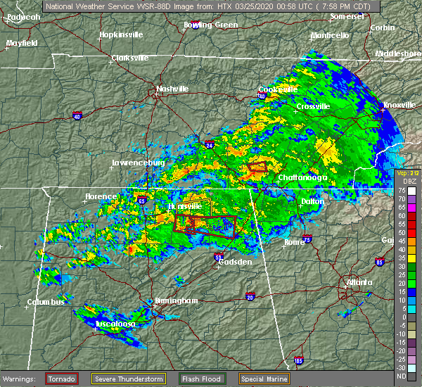 Radar Image for Severe Thunderstorms near Guntersville, AL at 3/24/2020 8:00 PM CDT