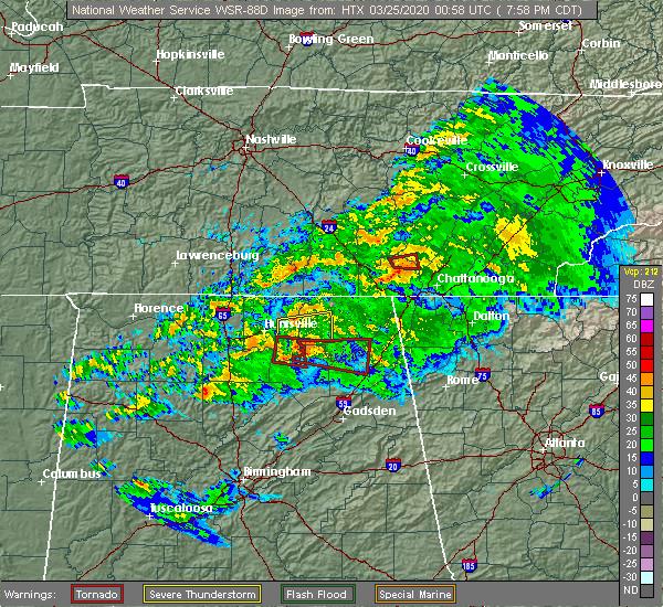 Radar Image for Severe Thunderstorms near Scottsboro, AL at 3/24/2020 8:02 PM CDT