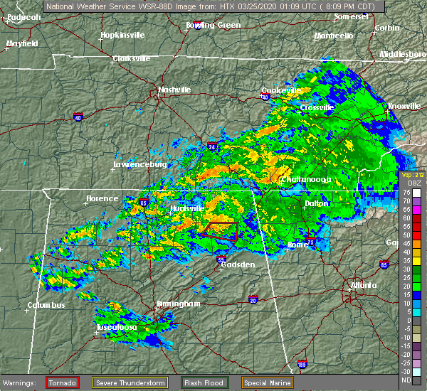 Radar Image for Severe Thunderstorms near Guntersville, AL at 3/24/2020 8:18 PM CDT
