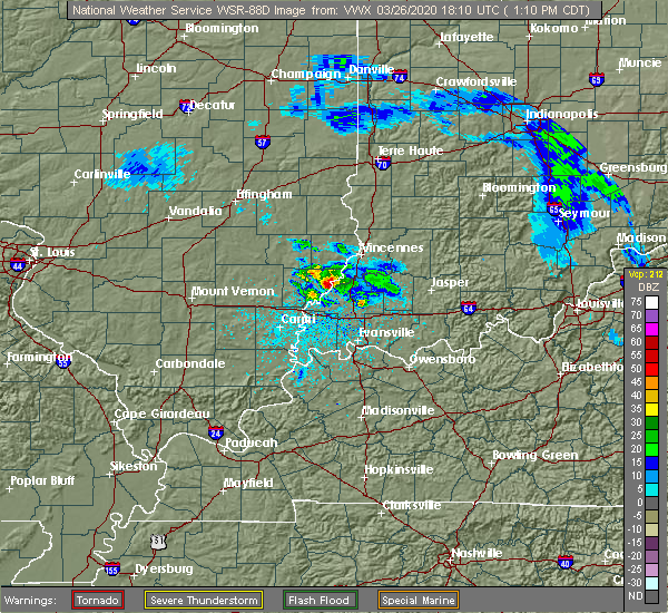 Radar Image for Severe Thunderstorms near Princeton, IN at 3/26/2020 2:14 PM EDT