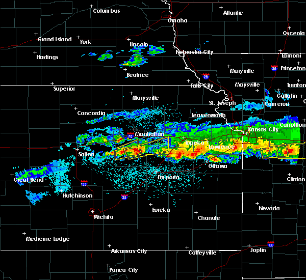 Radar Image for Severe Thunderstorms near Eskridge, KS at 3/26/2020 11:45 PM CDT