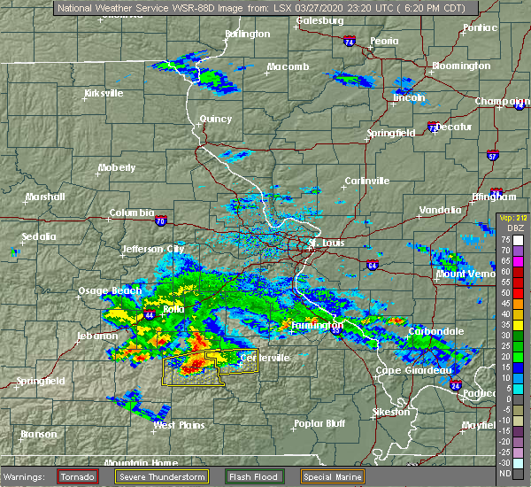 Radar Image for Severe Thunderstorms near Bunker, MO at 3/27/2020 6:23 PM CDT