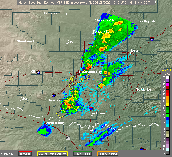 Radar Image for Severe Thunderstorms near Kendrick, OK at 3/28/2020 5:18 AM CDT