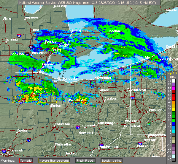 Radar Image for Severe Thunderstorms near New Riegel, OH at 3/28/2020 9:16 AM EDT
