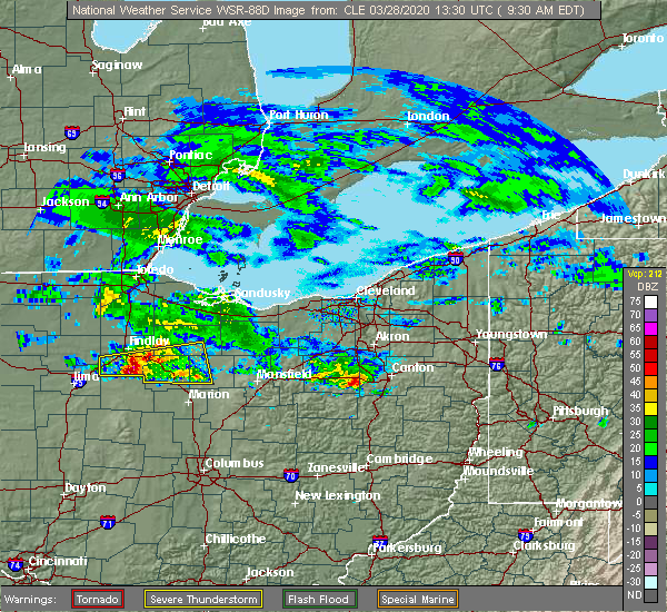 Radar Image for Severe Thunderstorms near Forest, OH at 3/28/2020 9:33 AM EDT
