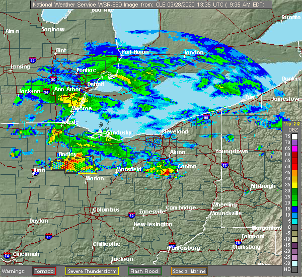 Radar Image for Severe Thunderstorms near Forest, OH at 3/28/2020 9:41 AM EDT