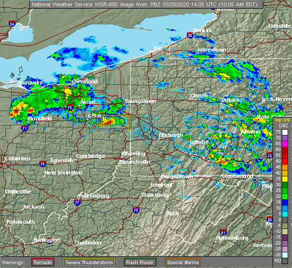 Radar Image for Severe Thunderstorms near East Palestine, OH at 3/28/2020 10:10 AM EDT
