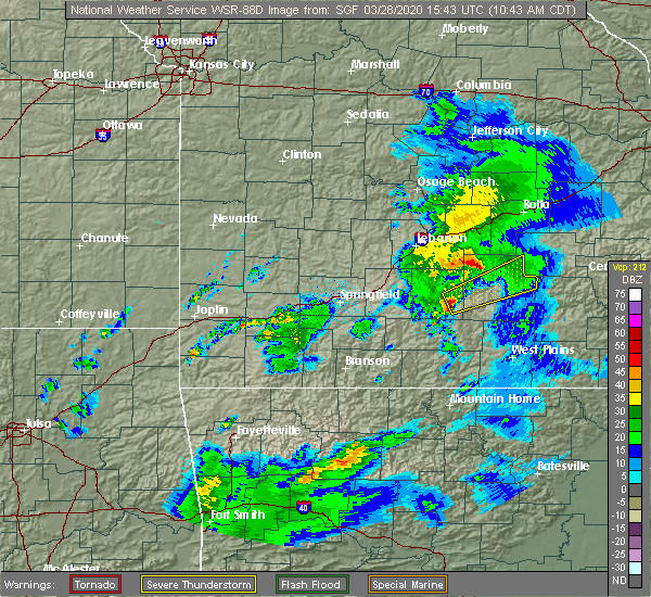 Radar Image for Severe Thunderstorms near Licking, MO at 3/28/2020 10:45 AM CDT