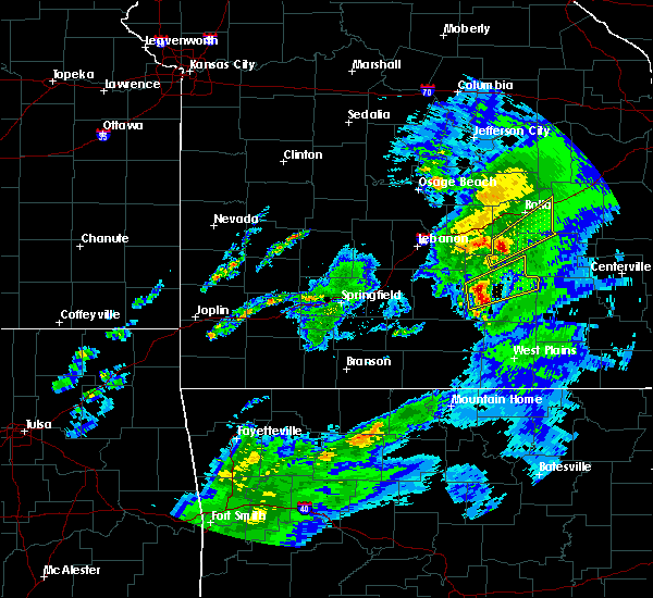 Radar Image for Severe Thunderstorms near Licking, MO at 3/28/2020 10:56 AM CDT