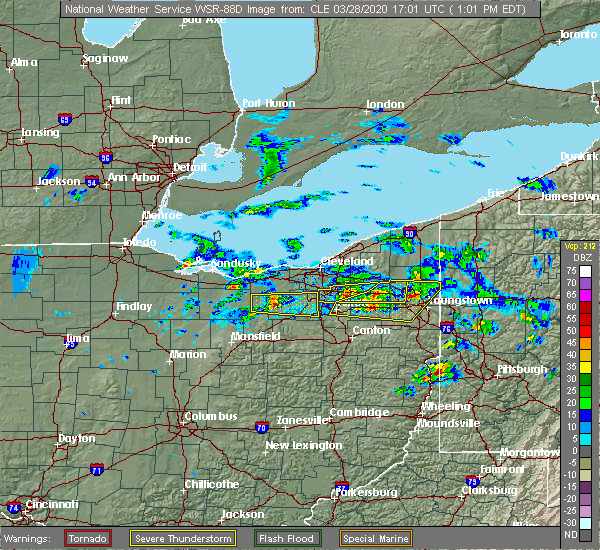 Radar Image for Severe Thunderstorms near South Canal, OH at 3/28/2020 1:04 PM EDT