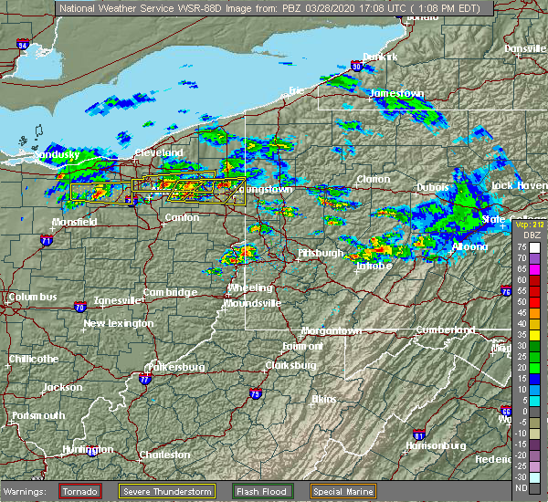 Radar Image for Severe Thunderstorms near South Canal, OH at 3/28/2020 1:11 PM EDT