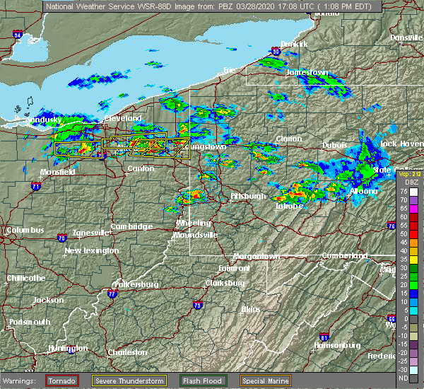 Radar Image for Severe Thunderstorms near South Canal, OH at 3/28/2020 1:16 PM EDT
