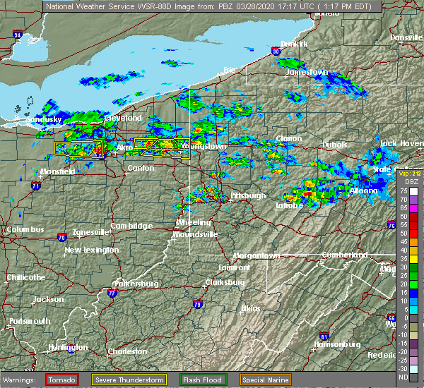 Radar Image for Severe Thunderstorms near Austintown, OH at 3/28/2020 1:20 PM EDT