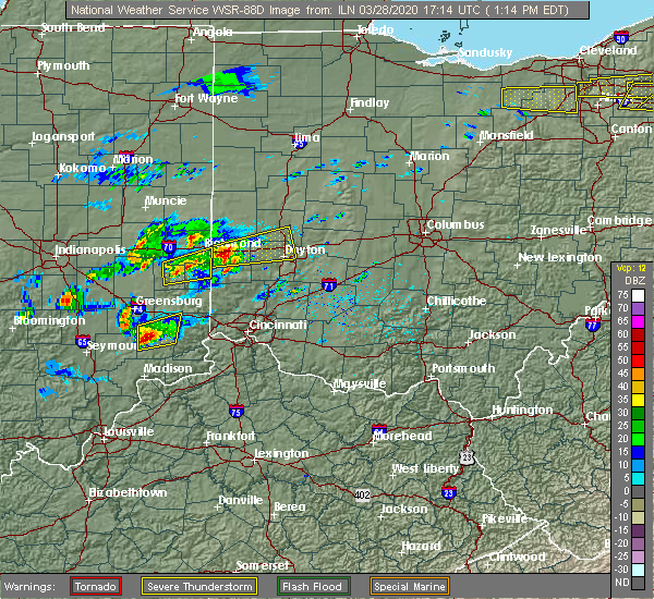 Radar Image for Severe Thunderstorms near Richmond, IN at 3/28/2020 1:23 PM EDT