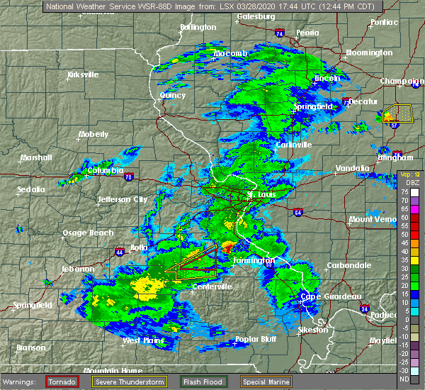 Radar Image for Severe Thunderstorms near Bloomsdale, MO at 3/28/2020 12:48 PM CDT