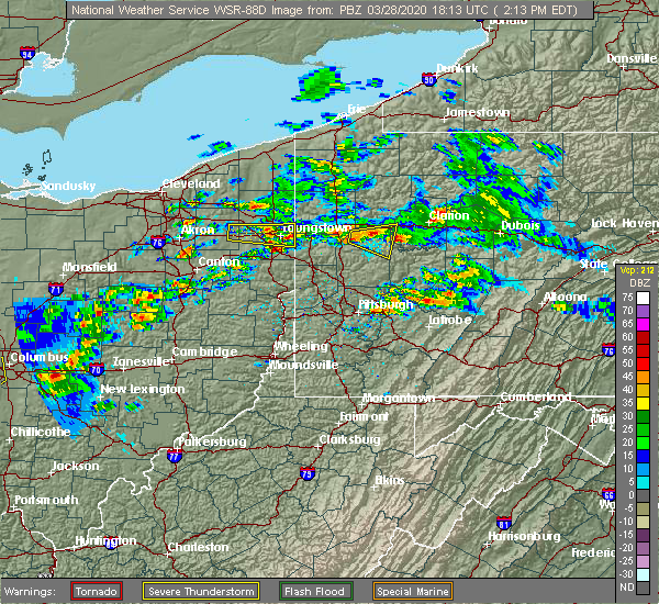 Radar Image for Severe Thunderstorms near Austintown, OH at 3/28/2020 2:18 PM EDT