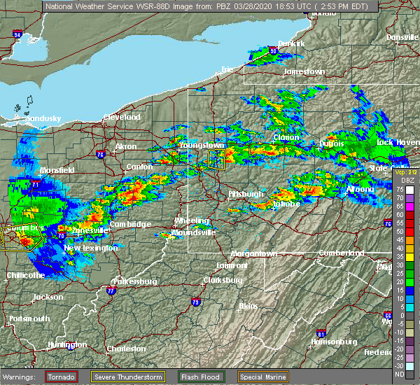 Radar Image for Severe Thunderstorms near Butler, PA at 3/28/2020 2:58 PM EDT