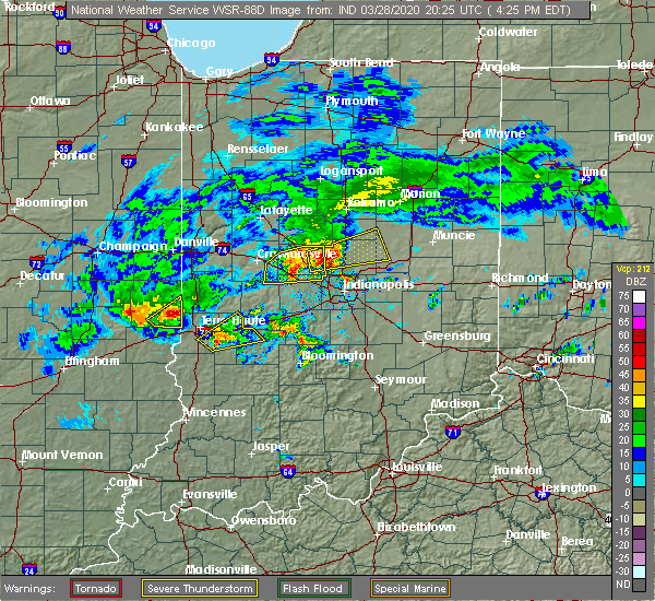 Radar Image for Severe Thunderstorms near St. Bernice, IN at 3/28/2020 4:29 PM EDT