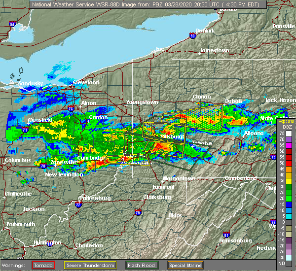 Radar Image for Severe Thunderstorms near Cheswick, PA at 3/28/2020 4:34 PM EDT