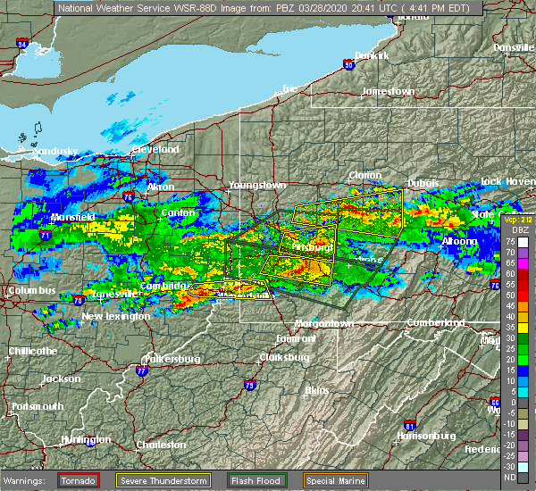 Radar Image for Severe Thunderstorms near Leechburg, PA at 3/28/2020 4:45 PM EDT