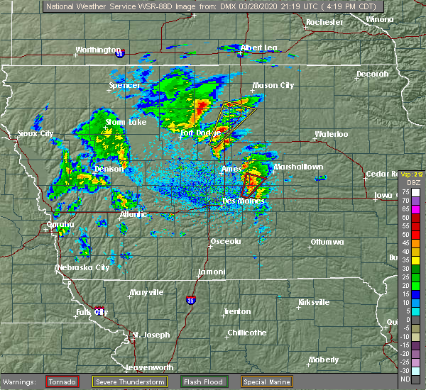 Radar Image for Severe Thunderstorms near Melbourne, IA at 3/28/2020 4:23 PM CDT