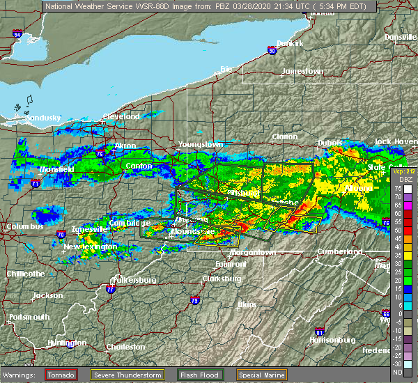 Radar Image for Severe Thunderstorms near Deemston, PA at 3/28/2020 5:36 PM EDT