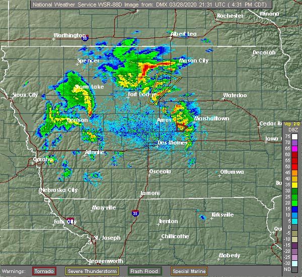 Radar Image for Severe Thunderstorms near Thornton, IA at 3/28/2020 4:38 PM CDT