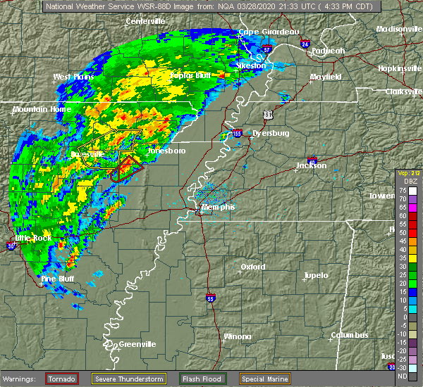 Radar Image for Severe Thunderstorms near College City, AR at 3/28/2020 4:38 PM CDT