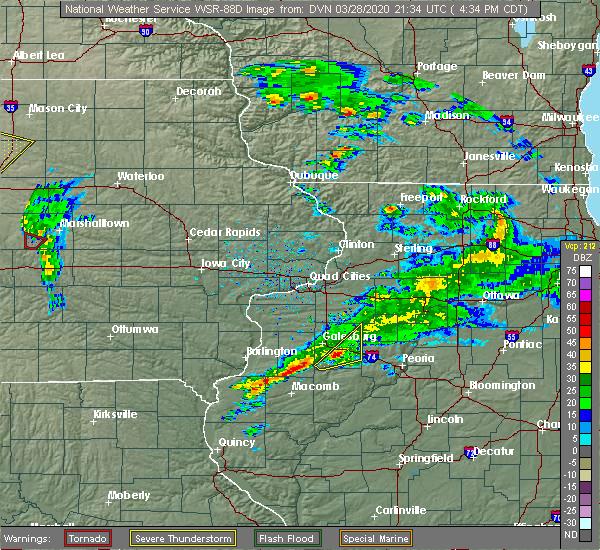 Radar Image for Severe Thunderstorms near Oak Run, IL at 3/28/2020 4:39 PM CDT
