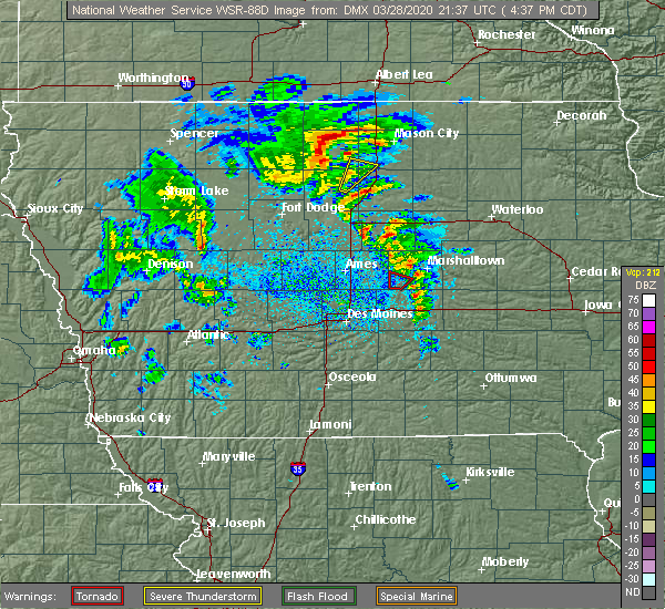 Radar Image for Severe Thunderstorms near State Center, IA at 3/28/2020 4:41 PM CDT