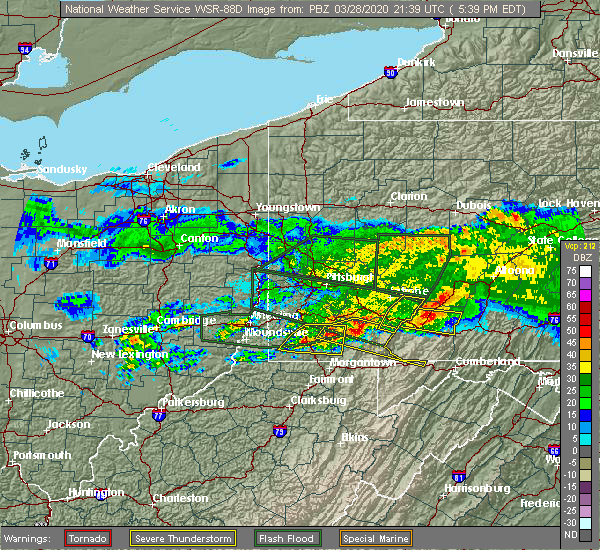 Radar Image for Severe Thunderstorms near Farmington, PA at 3/28/2020 5:43 PM EDT