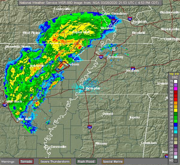 Radar Image for Severe Thunderstorms near Clarkton, MO at 3/28/2020 4:55 PM CDT