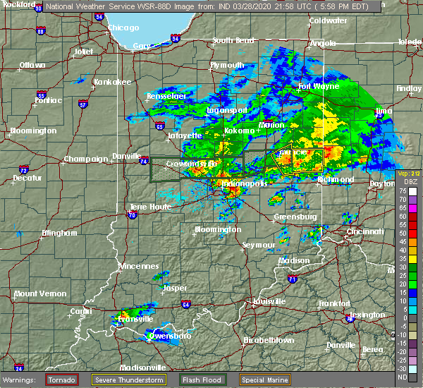 Radar Image for Severe Thunderstorms near Lynn, IN at 3/28/2020 6:01 PM EDT