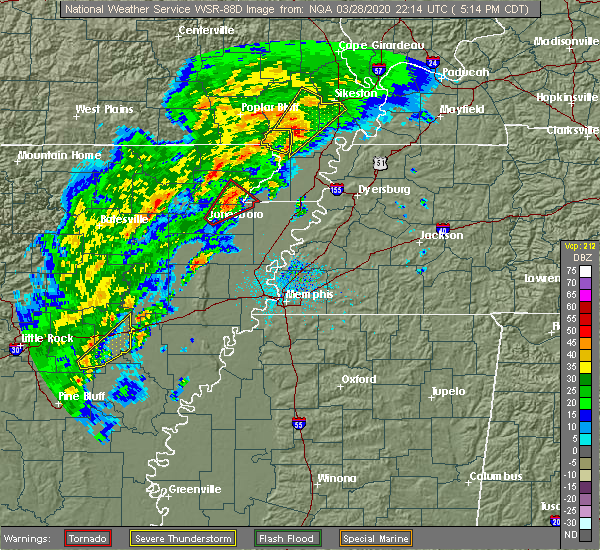 Radar Image for Severe Thunderstorms near Cardwell, MO at 3/28/2020 5:19 PM CDT