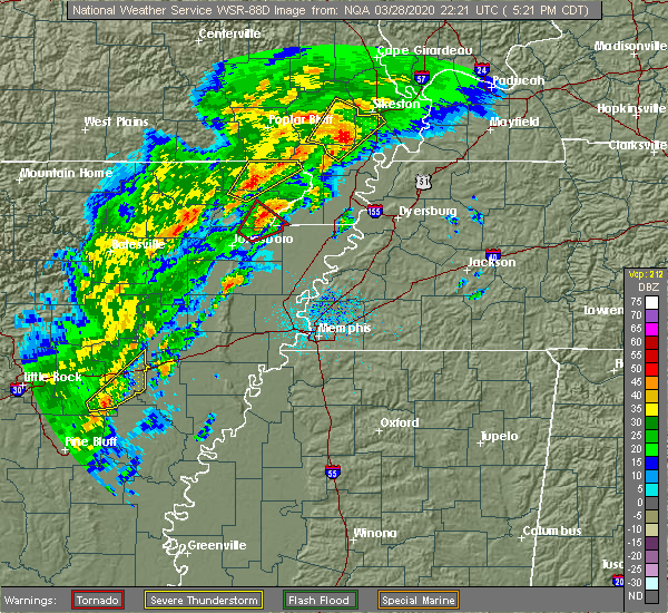 Radar Image for Severe Thunderstorms near Cardwell, MO at 3/28/2020 5:25 PM CDT