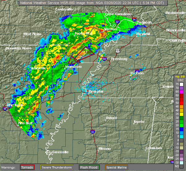 Radar Image for Severe Thunderstorms near Cardwell, MO at 3/28/2020 5:40 PM CDT