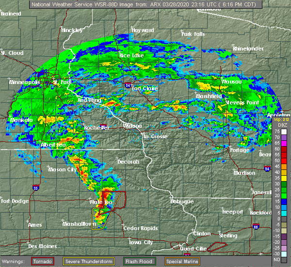 Radar Image for Severe Thunderstorms near Wadena, IA at 3/28/2020 6:21 PM CDT