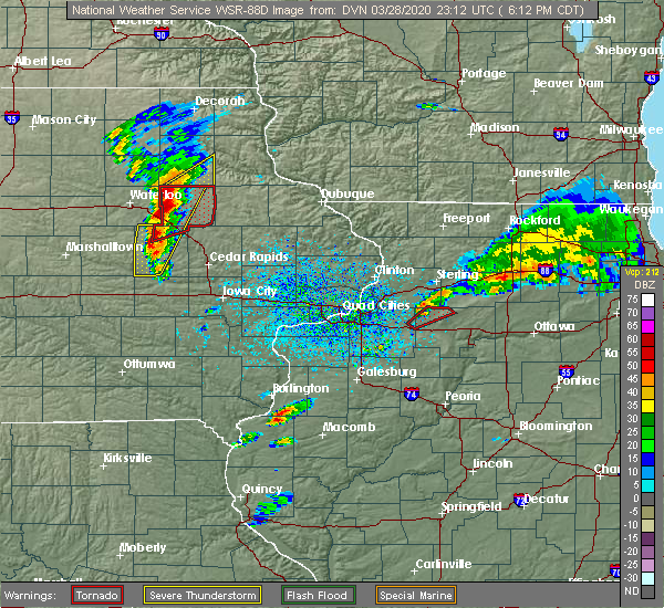 Radar Image for Severe Thunderstorms near Winthrop, IA at 3/28/2020 6:24 PM CDT