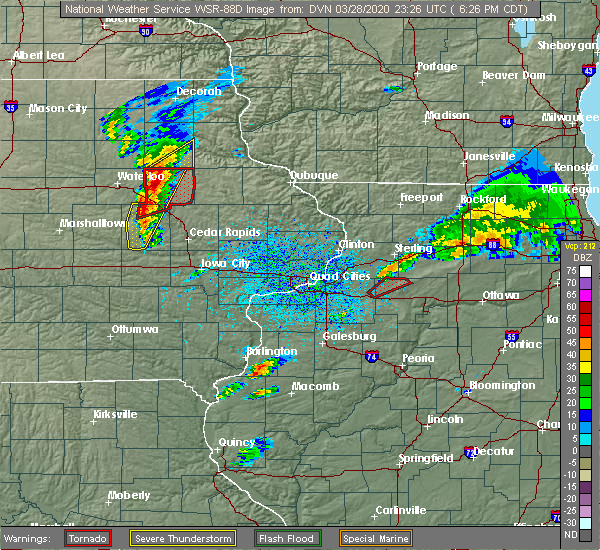 Radar Image for Severe Thunderstorms near Fairbank, IA at 3/28/2020 6:28 PM CDT