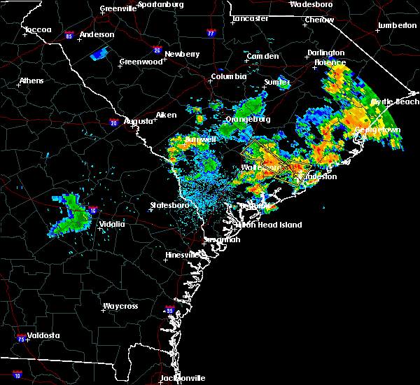 Radar Image for Severe Thunderstorms near Lincolnville, SC at 6/25/2015 12:39 AM EDT