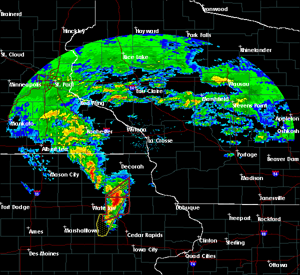 Radar Image for Severe Thunderstorms near Wadena, IA at 3/28/2020 6:38 PM CDT