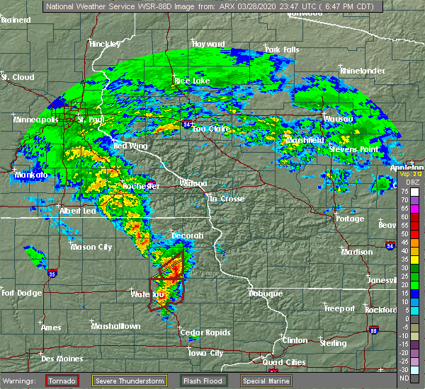 Radar Image for Severe Thunderstorms near Wadena, IA at 3/28/2020 6:48 PM CDT