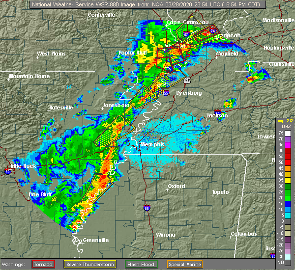 Radar Image for Severe Thunderstorms near Blytheville, AR at 3/28/2020 6:59 PM CDT