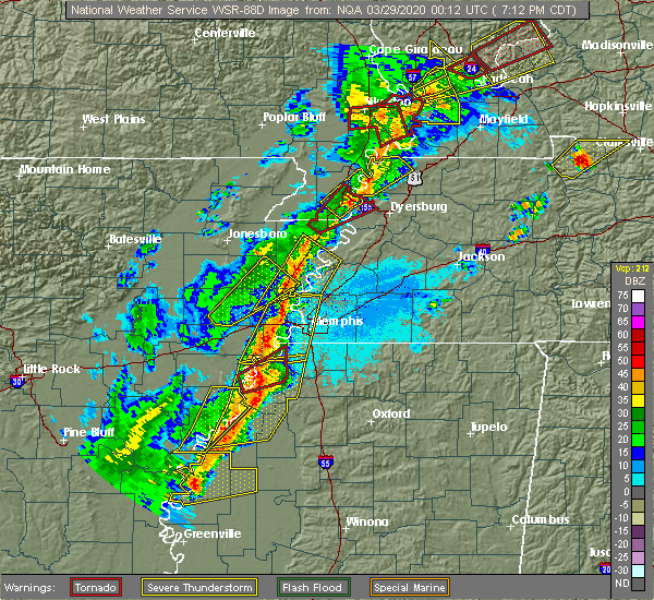 Radar Image for Severe Thunderstorms near Friars Point, MS at 3/28/2020 7:19 PM CDT